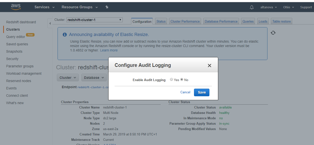 Audit logging for Amazon Redshift – OnData blog